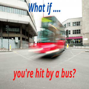 Hit by a bus image of red bus